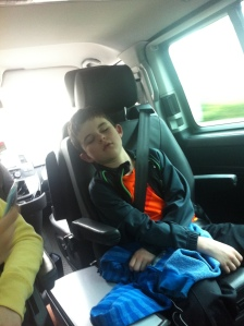 Asleep in the taxi on the way back home